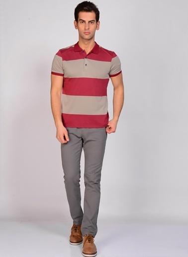 Fresh Company Fresh Company Polo Yaka Kısa Kol Çizgili Erkek Tshirt Bordo